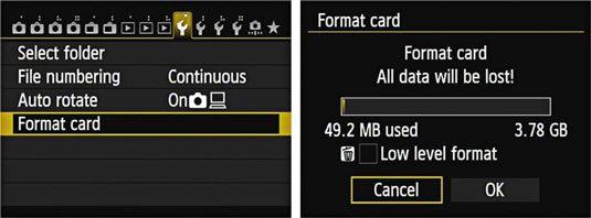 formater canon hukommelseskort
